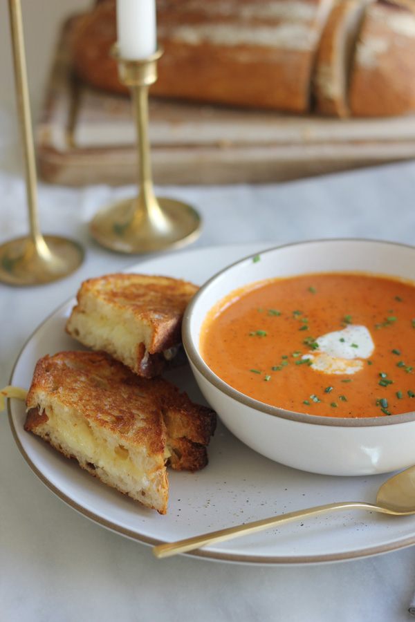 creamy tomato soup and grilled cheese | { fleur de sel }
